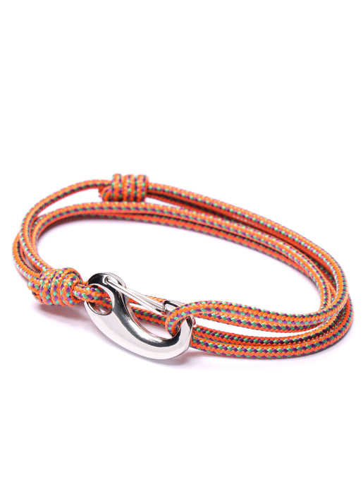 Orange Tactical Cord Bracelet for Men (Silver Clasp - 28S)