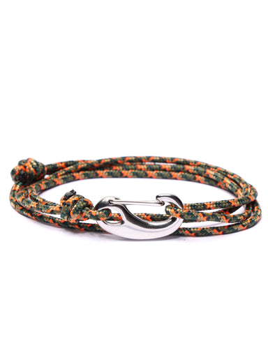 Camo Tactical Cord Bracelet for Men (Silver Clasp)