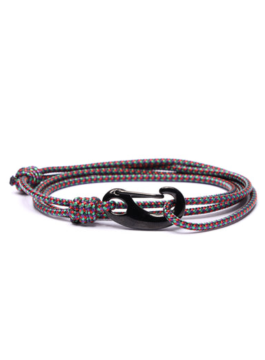 Multicolor Tactical Cord Bracelet for Men (Black Clasp)