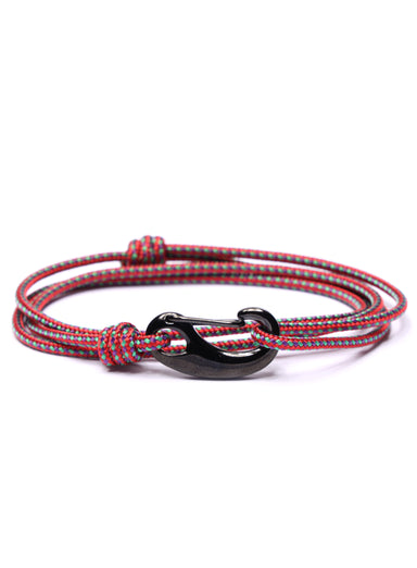 Red + Green Tactical Cord Bracelet for Men (Black Clasp)
