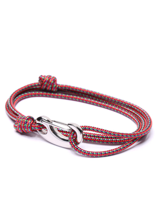 Red + Green Tactical Cord Bracelet for Men (Silver Clasp)