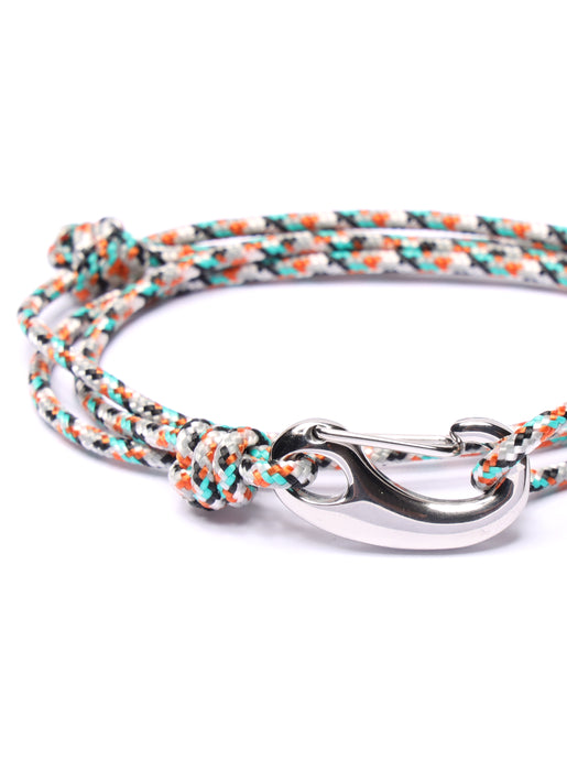 White + Orange Tactical Cord Bracelet for Men (Silver Clasp)