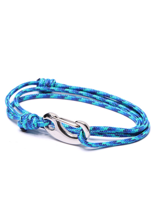 Light Blue + Dark Blue Tactical Cord Bracelet for Men (Silver Clasp - 34S)