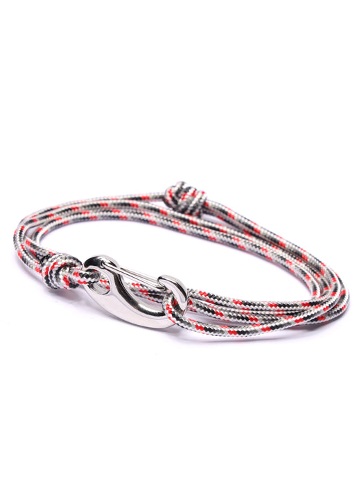 White + Gray Tactical Cord Bracelet for Men (Silver Clasp)