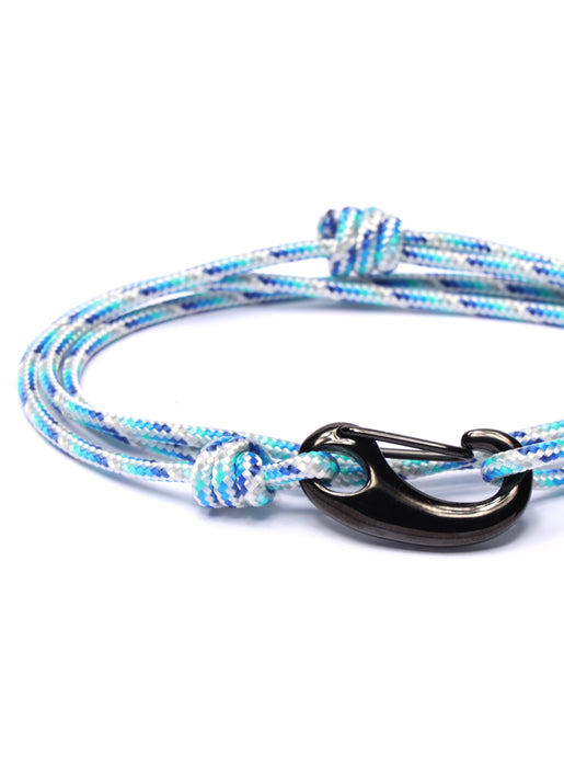 Blue + White Tactical Cord Bracelet for Men (Black Clasp)