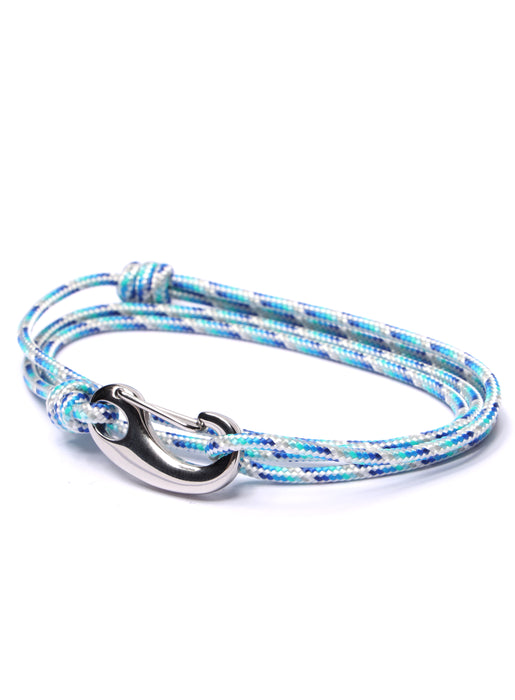 Blue + White Tactical Cord Bracelet for Men (Silver Clasp)