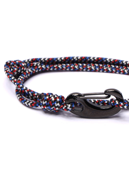 Red, Black & Blue Tactical Cord Bracelet for Men (Black Clasp)