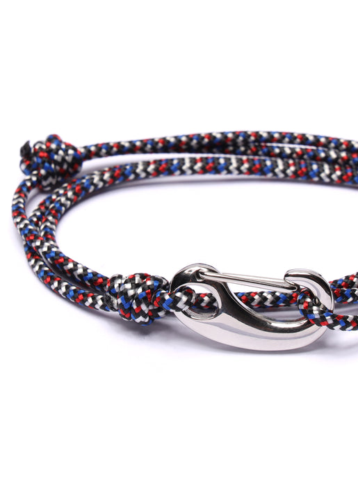 Red, Black & Blue Tactical Cord Bracelet for Men (Silver Clasp)