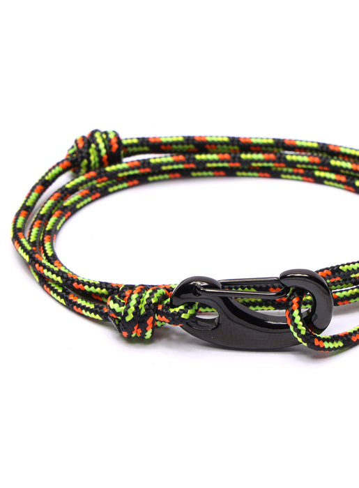 Black & Orange Tactical Cord Bracelet for Men (Black Clasp)