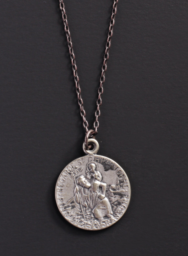 pendant alex medium necklace saint st christopher charm medallion enamel front black ani and
