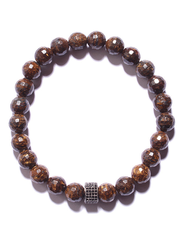 Bronzite and Black CZ Pave Bead Bracelet (SOLD OUT)