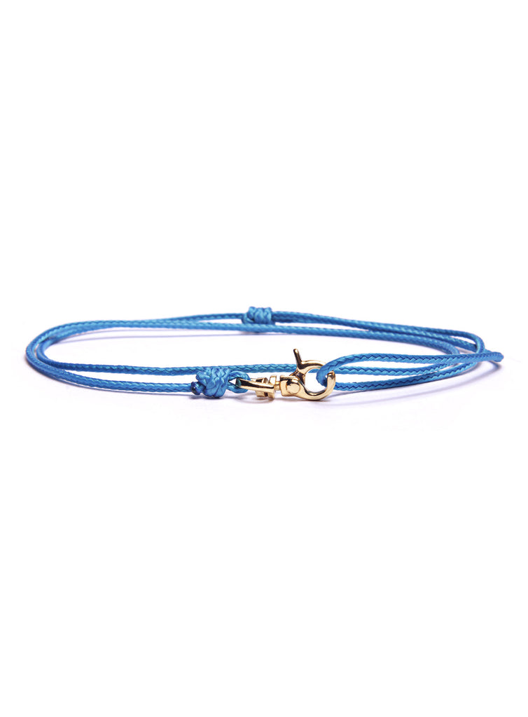 Blue Micro Cord Men's Bracelet with Gold Clasp