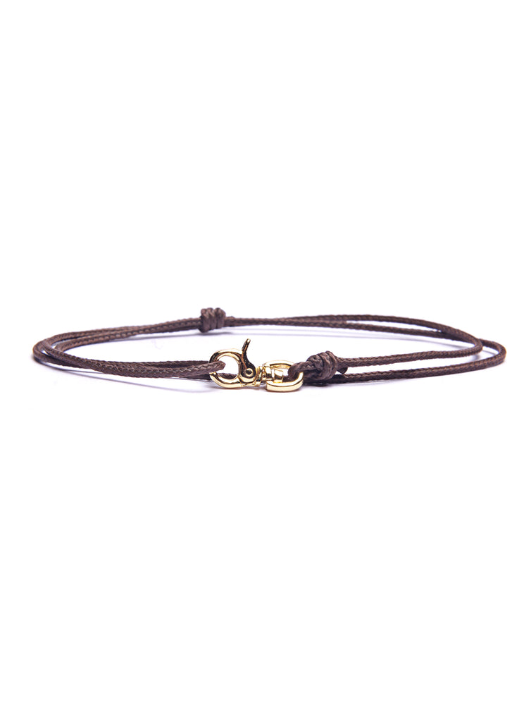 Brown Micro Cord Men's Bracelet with Gold Clasp