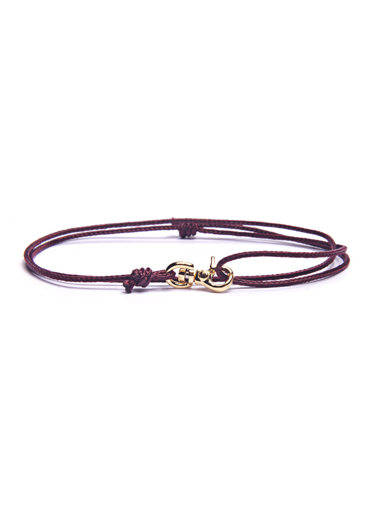 Maroon Micro Cord Men's Bracelet with Gold Clasp