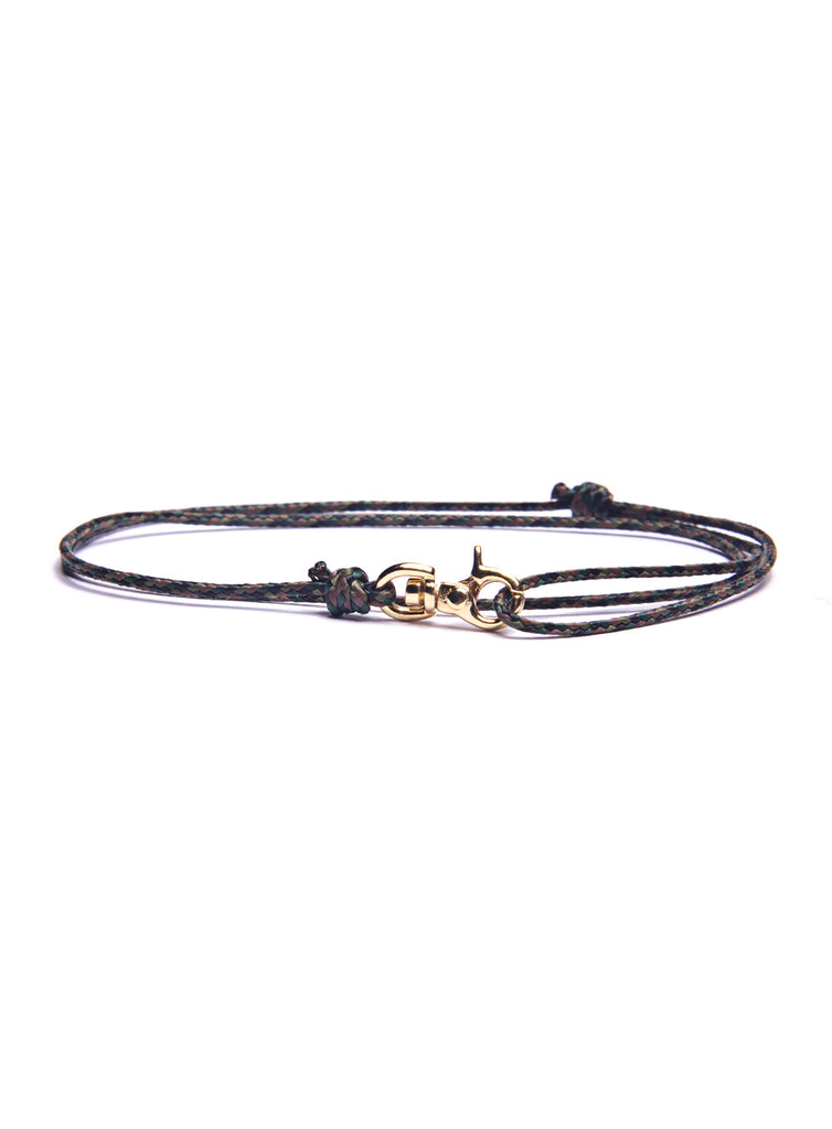 Camo Micro Cord Men's Bracelet with Gold Clasp