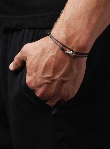 """Decoy"" Sterling Silver Micro Cord Bracelet in Black for Men"