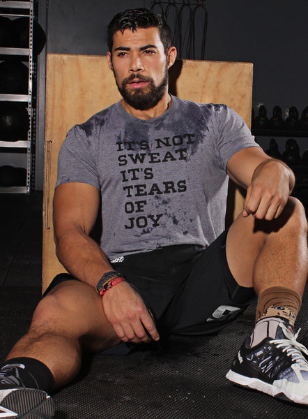 """It's not sweat, it's tears of joy"" heather gray t-shirt"