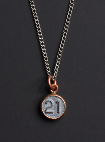 Number 21 necklace
