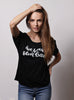 """Be Your Own Bae"" Slouchy Black Tee for women"