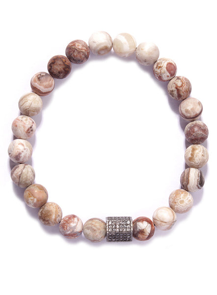 """Mars"" White & Brown Bead Bracelet with Pave Detail"