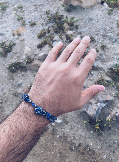 """Blue Line"" Double Knot Cord Bracelet for Men"