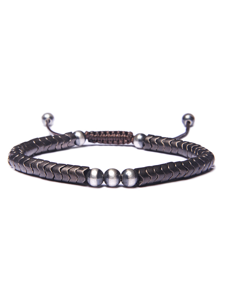 Sterling and Brass Snake Beads Men's Bracelet