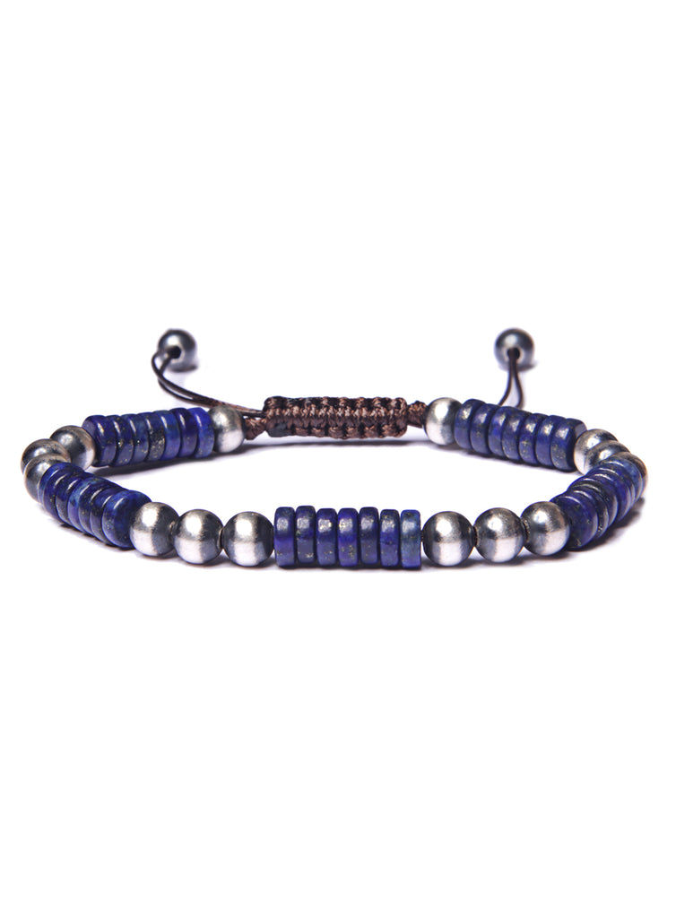 Lapis Lazuli and Sterling Silver Men's Bead Bracelet