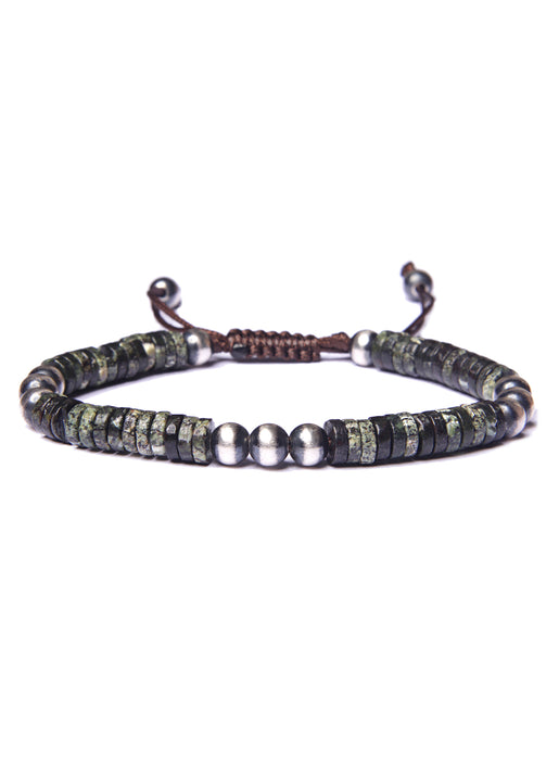 Green Jasper and Sterling Silver Men's Bead Bracelet