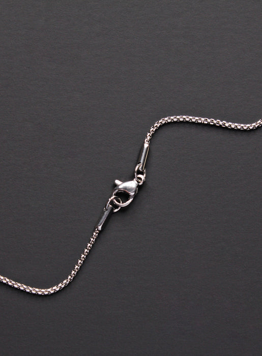 Necklace Set: Silver Rope Chain and Silver Bamboo Cross Necklace