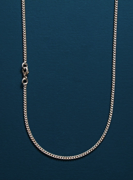 925 Sterling Silver Cross on Sterling Rhodium Coated Curb Chain