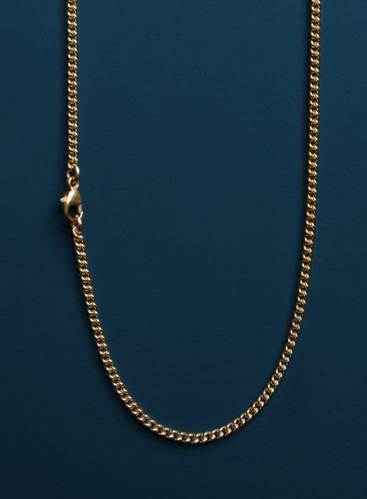 Vermeil Gold Cross on 14k Gold Filled Curb Chain