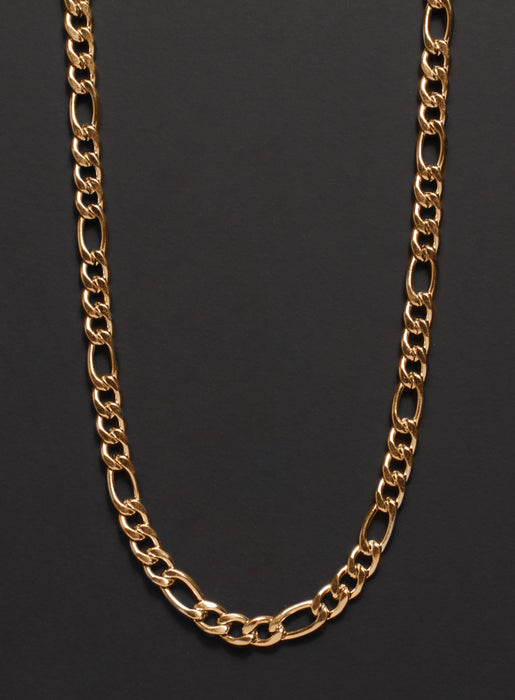 5mm Gold Figaro Chain Necklace for Men