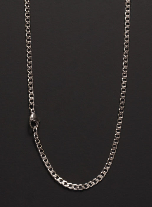 3mm Stainless Steel Curb Chain Necklace for Men