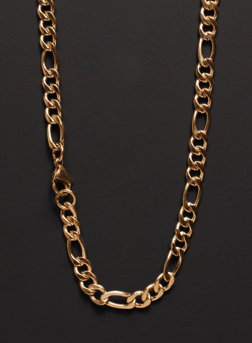 6mm Gold Figaro Chain Necklace for Men