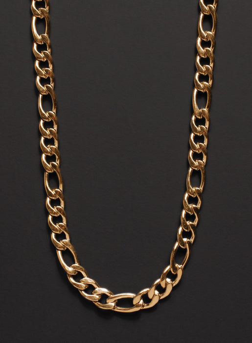 7mm Gold Figaro Chain Necklace for Men