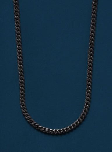 Black Titanium Curb Chain Necklace for Men