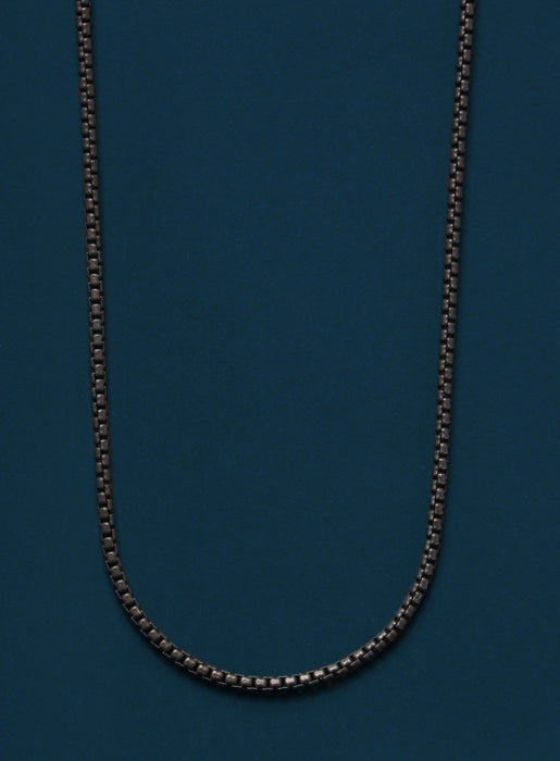 Black Titanium Round Box Chain Necklace for Men