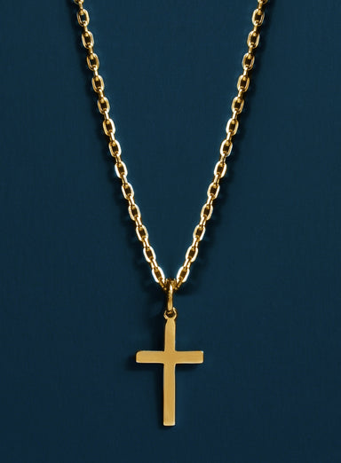 14k Gold Filled and Vermeil Gold Cross Cable Necklace for Men