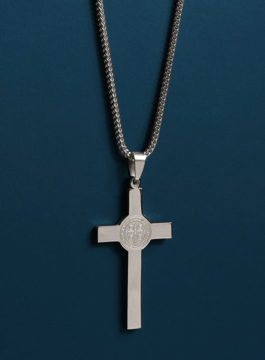 Large St. Benedict Stainless Steel Cross Necklace