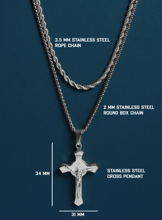 Stainless Steel Crucifix Necklace Set for Men