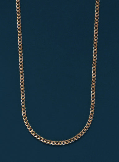 14k Gold Filled Flat Curb Chain Necklace for Men