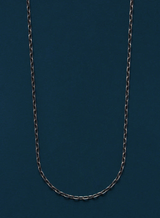 Oxidized Sterling Silver Small Cable Chain Necklace for Men