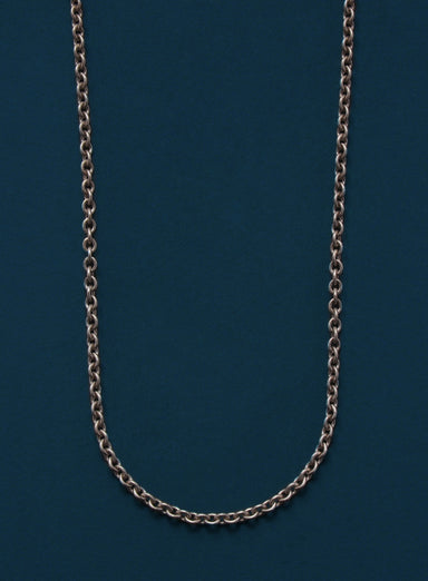Oxidized Sterling Silver Rolo Chain Necklace for Men