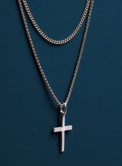 Sterling Silver (Rhodium plated) Cross Necklace Set for Men