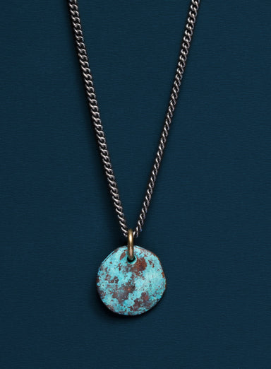 Bronze round tag necklace with hand-painted blue patina
