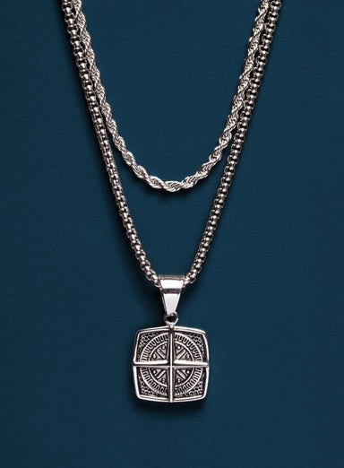 Necklace Set: Silver Rope Chain and Compass Necklace