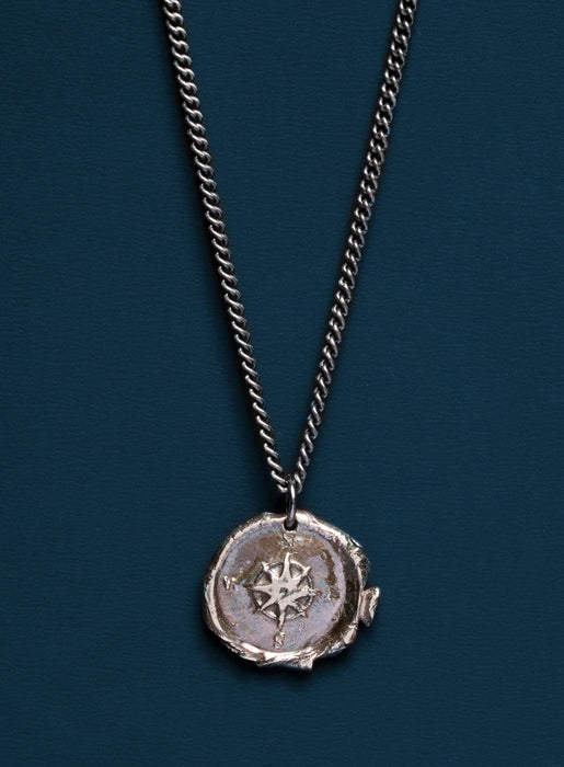 Sterling Silver Wax Seal Compass Necklace for Men