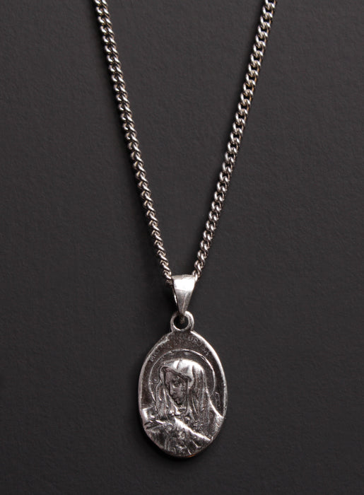 Jesus and Mary Sterling Silver Medal Necklace for Men