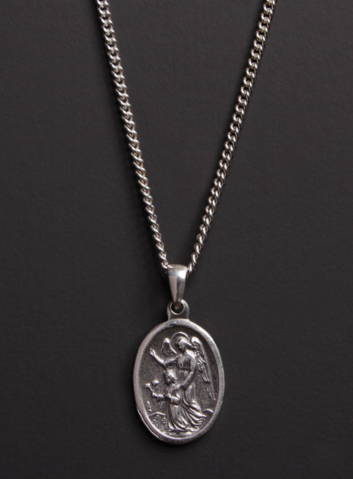 Guardian Angel and St. Michael Sterling Silver Medal Necklace for Men
