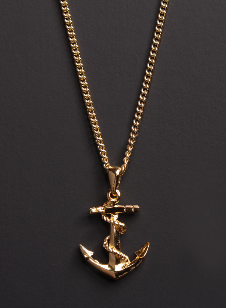 Gold Anchor Necklace for Men